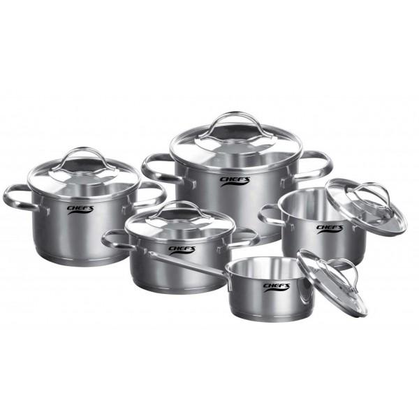 Bộ nồi từ 5 chiếc inox Chefs EH-CW5304 chất liệu thép không gỉ